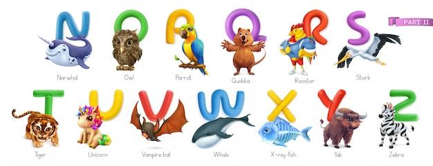 Зоопарк алфавит. смешные животные, набор 3d иконок. буквы n - z. нарвал, сова, аррот, квокка, петух, аист, тигр, единорог, летучая мышь-вампир, кит, рыба-рентген, як, зебра Premium векторы