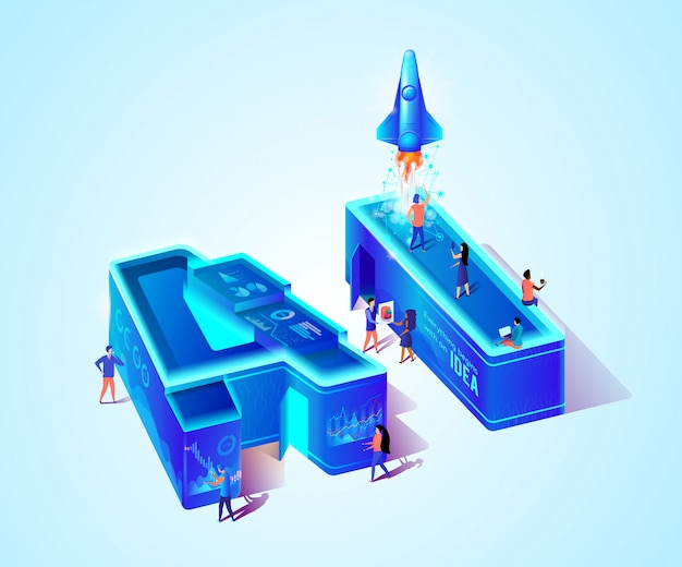 3d neon ai isometric letter and scientist people Premium Vector