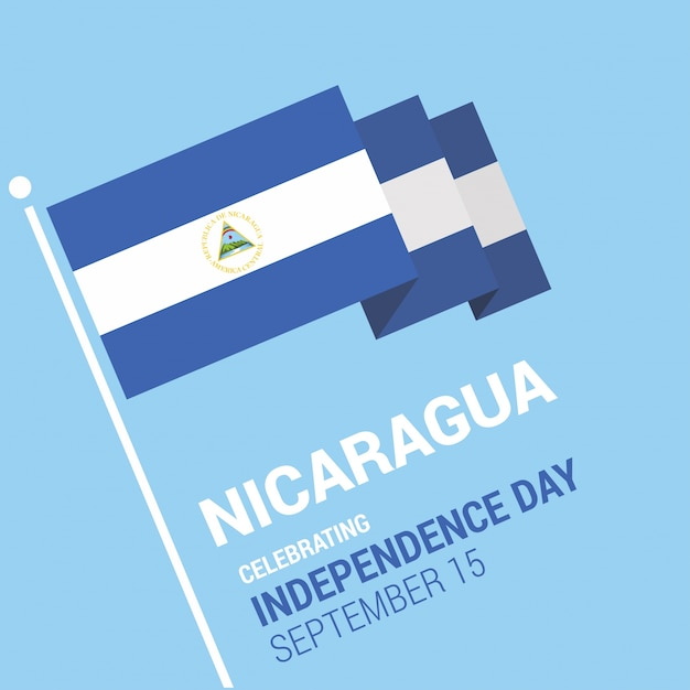 3d nicaragua flag independence day design vector free download