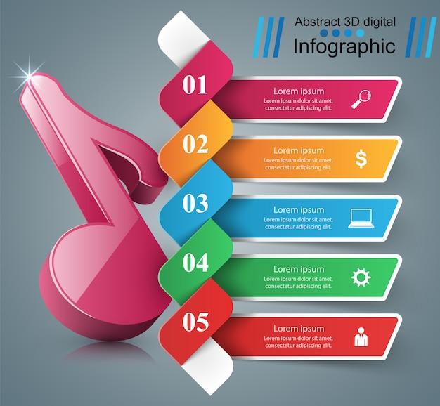 3d note icon. music infographic. Premium Vector