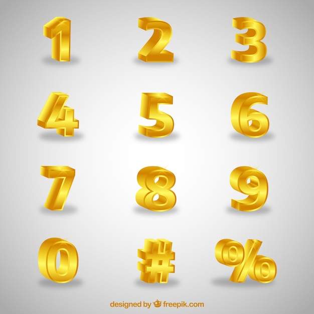 3d number collection Free Vector