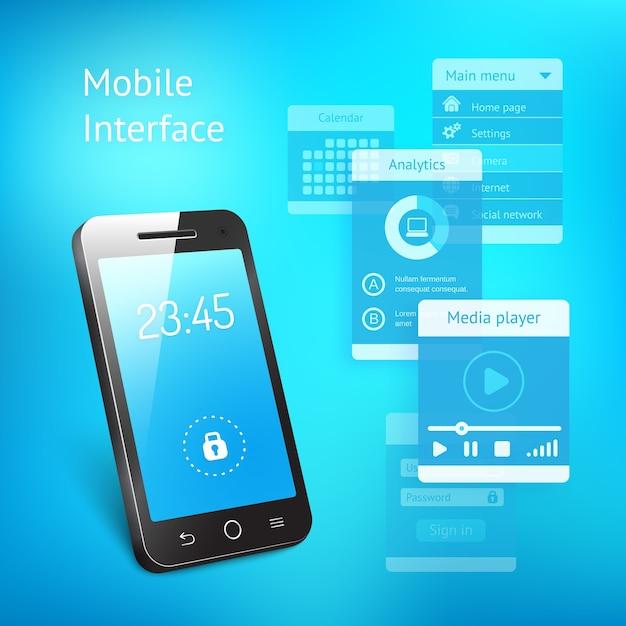 時間を示すブルースクリーンを備えた最新のスマートフォンまたは携帯電話の3d 無料ベクター