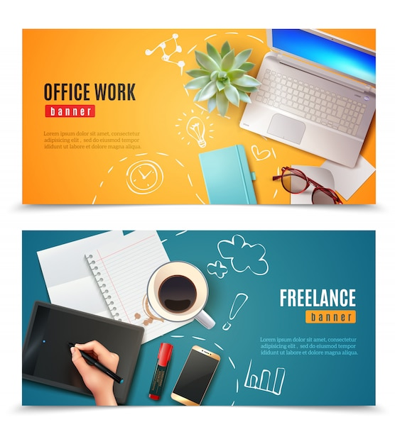 3d office objects banners Free Vector