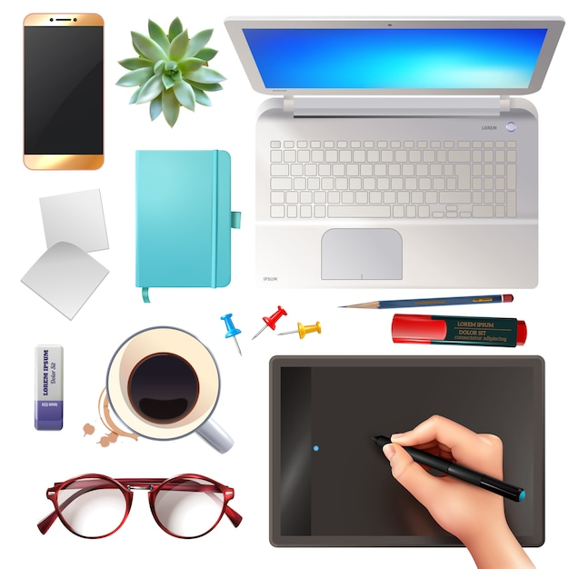 3d office objects set Free Vector