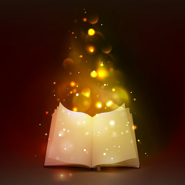 3d open book with magic lights Free Vector