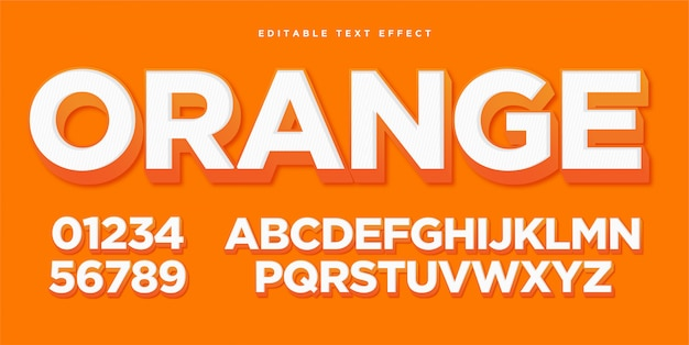 3d orange text style effect Premium векторы