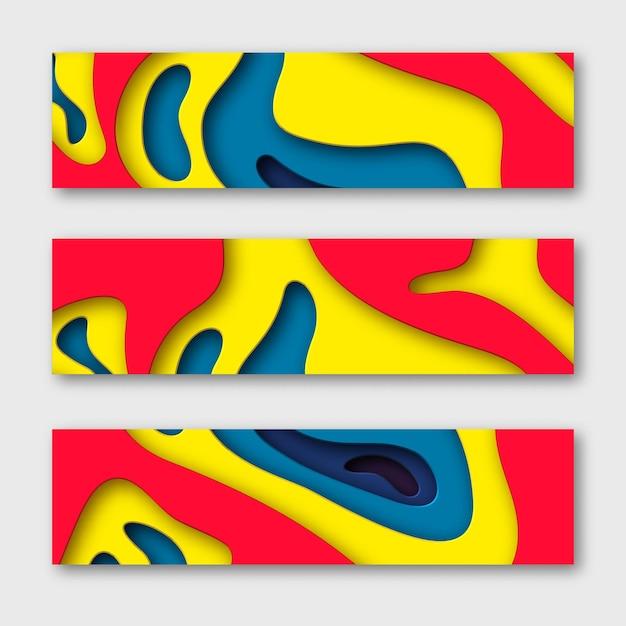 3d вырезать из бумаги горизонтальные баннеры. Бесплатные векторы
