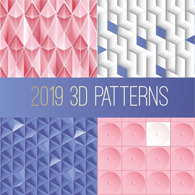 3d paper paterns collection Premium Vector
