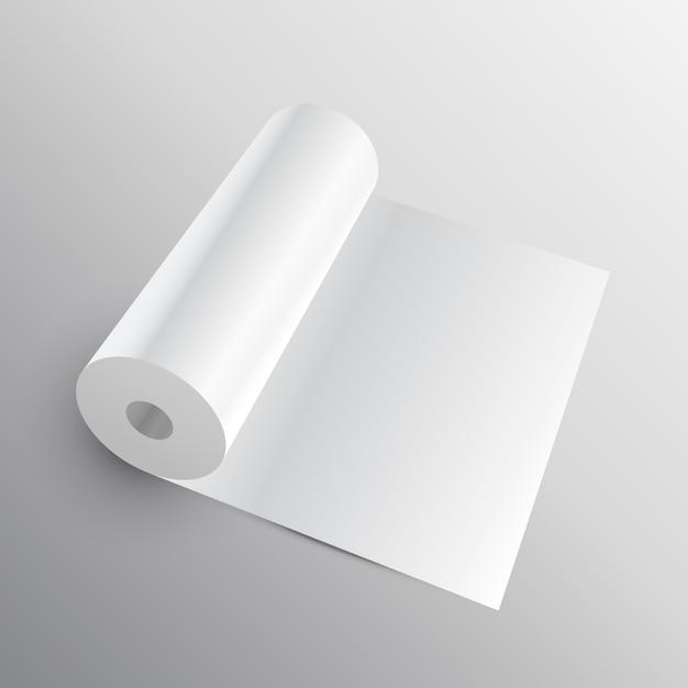 3d paper roll mockup Free Vector
