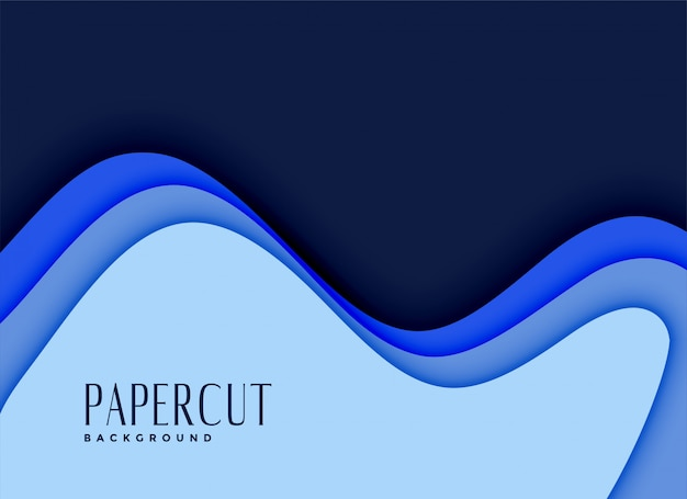 3d papercut background in blue shades Free Vector
