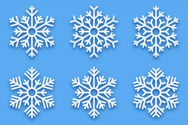 3d papercut decorative snowflakes Premium Vector
