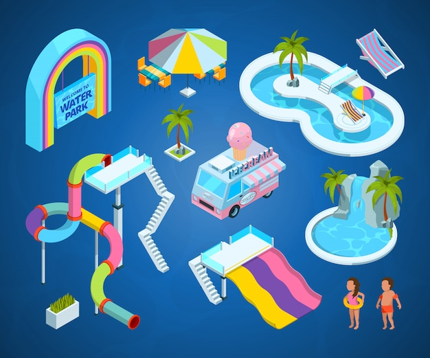 3d pictures of water park attractions Premium Vector