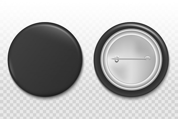 3d pin button, blank badge brooch mockup template. Premium Vector