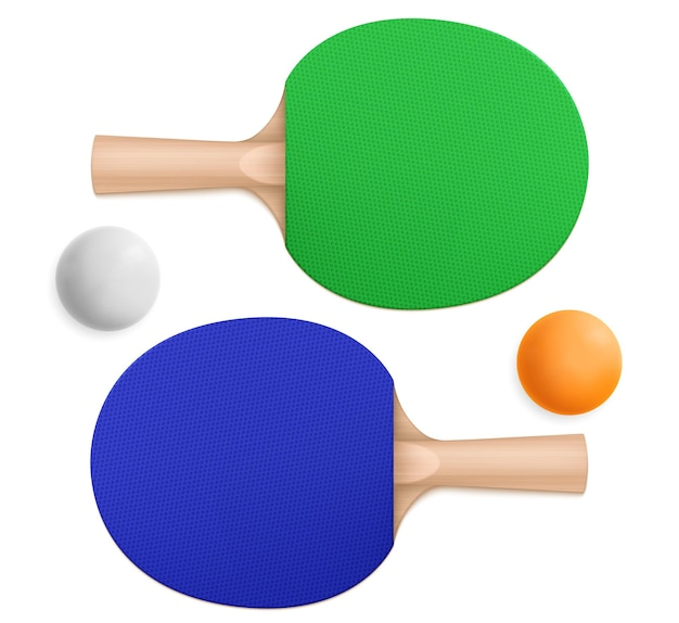 3d pingpong balls and blue and green sport paddles with wooden handles in top and bottom view Free Vector