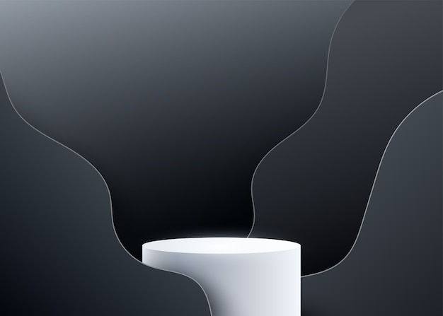 3d podium  background with black wave liquide shapes. Free Vector