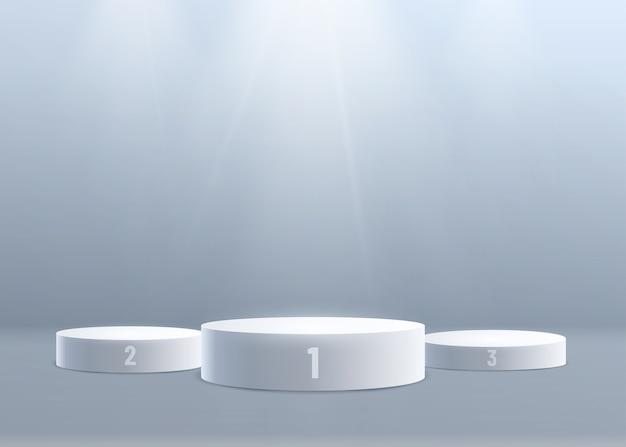 위에서 빛으로 3d 연단 배경입니다. 1 위, 2 위, 3 위. 숫자 지정. 무료 벡터