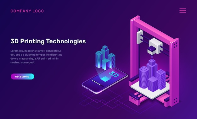 3d printer technology, isometric concept Free Vector