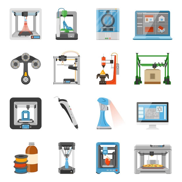 3d printing icons set Free Vector