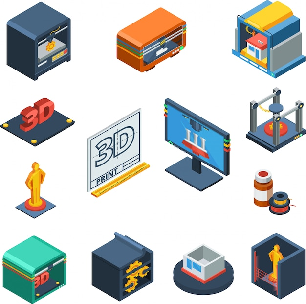 3d printing isometric icons collection Free Vector