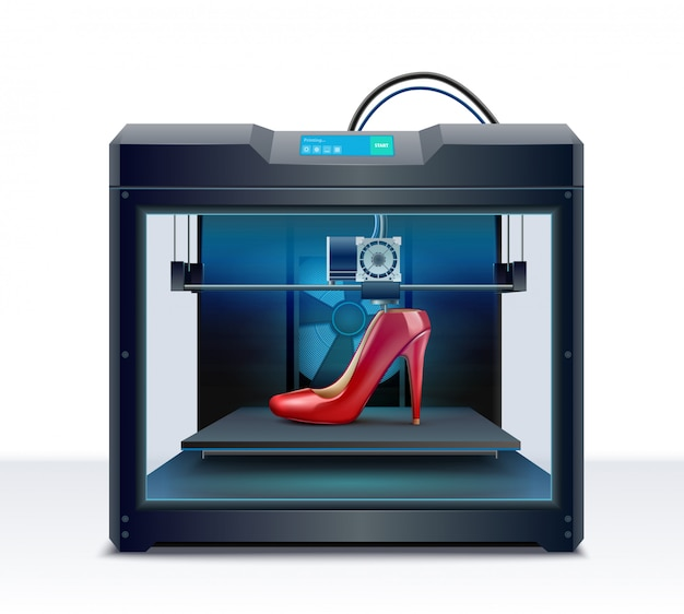3d printing of red high heeled shoe process isometric composition vector illustration Free Vector