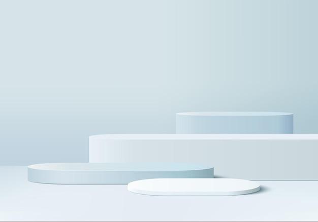 3d 제품은 모양 기하학적 플랫폼으로 연단 장면을 표시합니다. 프리미엄 벡터