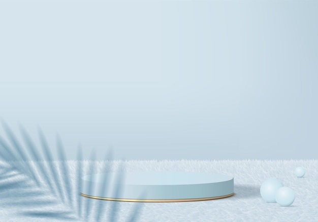 잎 기하학적 플랫폼과 양모 카펫에 3d 제품 최소한의 연단. 프리미엄 벡터