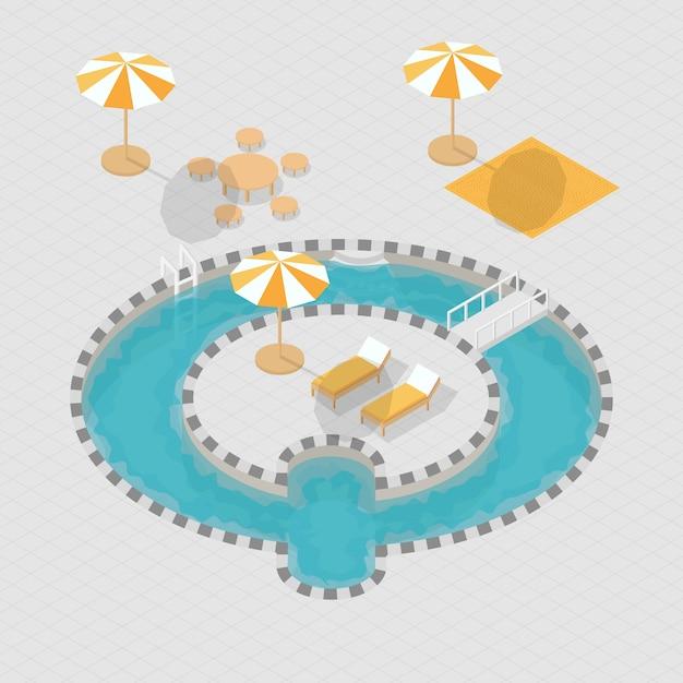 Изометрическая 3d бассейн азбука q Premium векторы