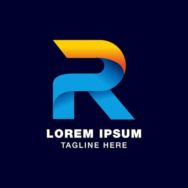 グラデーションスタイルの3d文字rのロゴテンプレート Premiumベクター