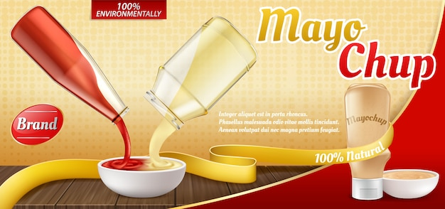 3d realistic ad poster with plastic bottle with mayochup sauce and cooking of it. Free Vector