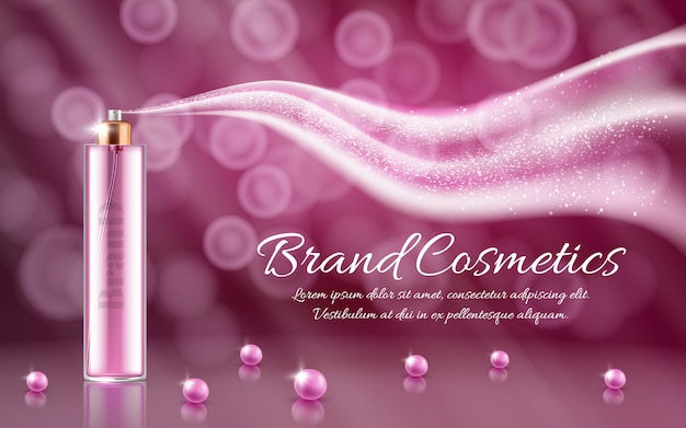 3d realistic ad, promotion cosmetic banner of essence, mock up with glass spray and wave Free Vector