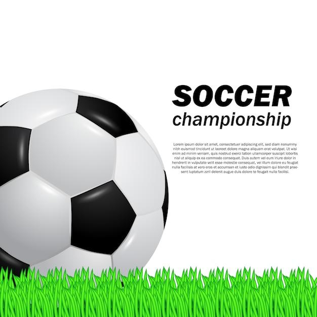 3d realistic ball soccer football on the green grass field Premium Vector