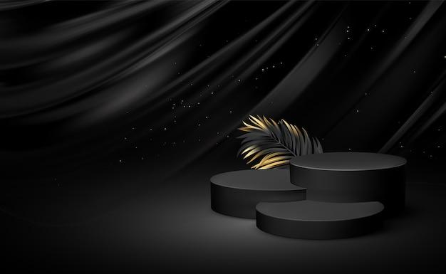 황금 요소 종려 잎 3d 현실적인 검은 받침대 프리미엄 벡터