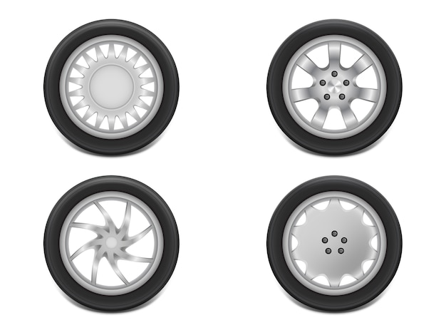 3d realistic black tires in side view, shining steel and rubber wheel for car, automobile Free Vector