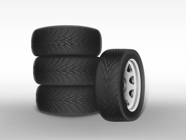 3d реалистичная черная шина, уложенная в кучу, блестящая сталь и резиновое колесо для автомобиля, автомобиль Бесплатные векторы