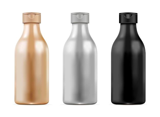 3d realistic bottle set for shampoo, gel. cosmetic Premium Vector