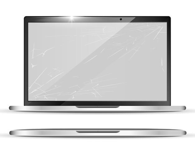 3d realistic broken screen Premium Vector