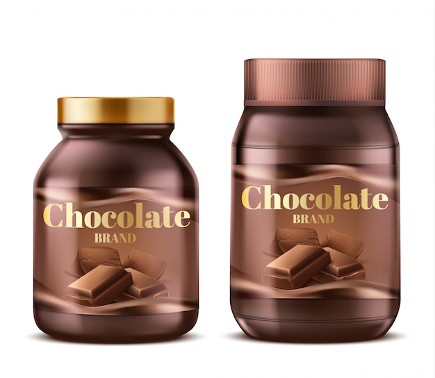 3d realistic chocolate paste in plastic jars with shadows. natural dessert butter Free Vector