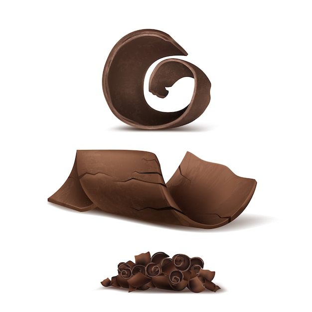 3d realistic chocolate shavings. brown delicious cuttings for packaging, package template. Free Vector