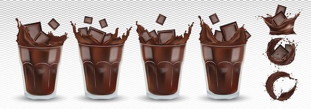 3d реалистичный шоколадный всплеск в прозрачном стакане с кусочками шоколада. большая коллекция какао или кофе. брызги темного шоколада. горячий шоколад, напиток, коктейль. набор иконок. иллюстрация Premium векторы
