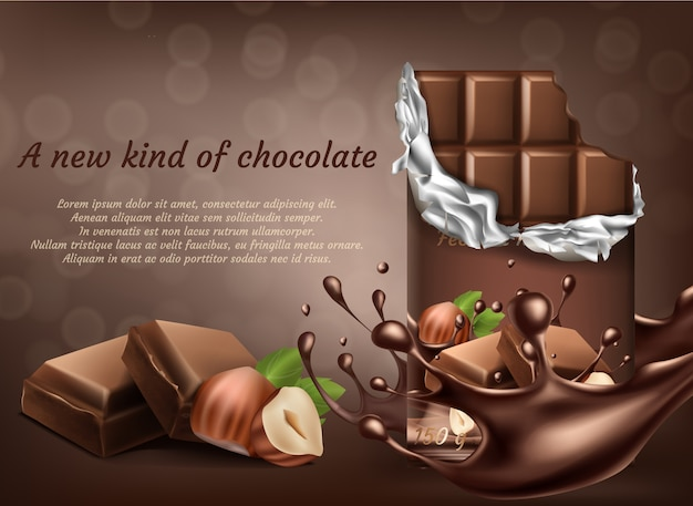 3d realistic chocolate with hazelnut ad poster, banner with liquid splashing drops. Free Vector