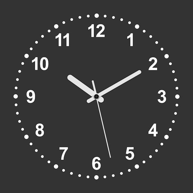 3d realistic circle shaped clock Premium Vector