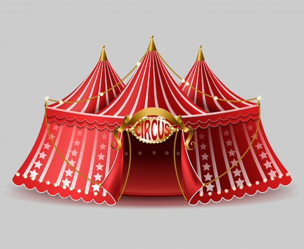 3d realistic circus tent with illuminated signboard for entertainment, amusement show. Free Vector