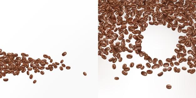 3d 현실적인 커피 씨앗 흰색 배경에 고립입니다. 신선한 아라비카 콩의 상위 뷰입니다. 무료 벡터