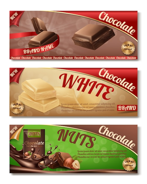 3d realistic collection of chocolate packaging. horizontal labels of tasty product with nuts Free Vector