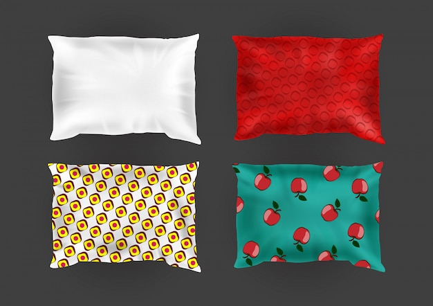 3d realistic comfortable square pillows in bright pillowcases, different patterns on silk Free Vector