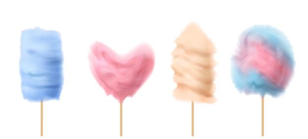 3d реалистичные конфеты на деревянные палочки с различными формами - сердце, башня, облако. Бесплатные векторы