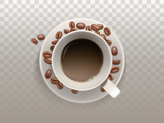3d realistic cup of coffee on the saucer with beans isolated on