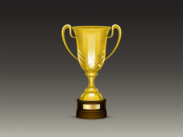 3d realistic cup, golden trophy for winner of competition, championship. Free Vector