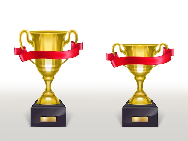3d realistic cup on pedestal with red ribbon, golden trophy on stand