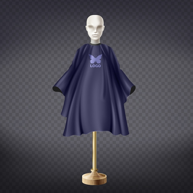 3d realistic dark blue hairdresser apron on white mannequin isolated on transparent background Free Vector
